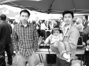 A candid picture of us deejaying for a crowd of over 500 people for the Cambodian New Year in Seattle, Washington.  2009.